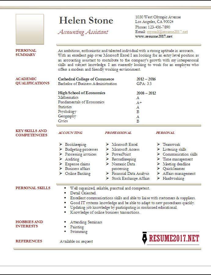 Accountant-Assistant-resume-sample-2017-1.jpg (691×900) | makeup ...