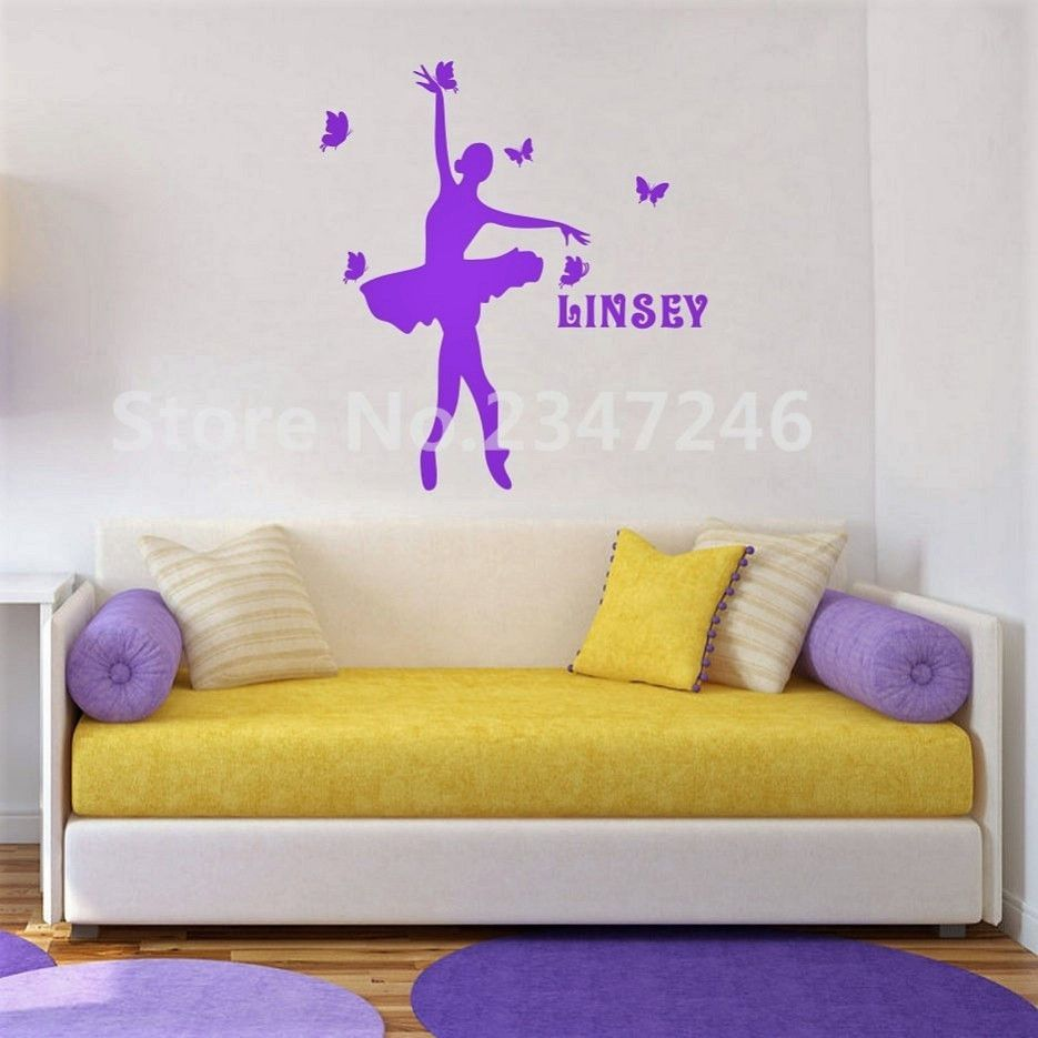 Personalized Girls Name Art Mural, Wall Decals Ballerina Dancing ...