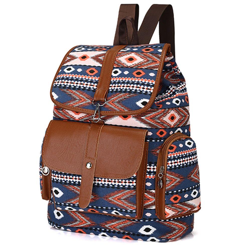 Photo of Women Vintage Ethnic Canvas Backpack Fashion School Bag for Teenage Girls Casual Women School Bag