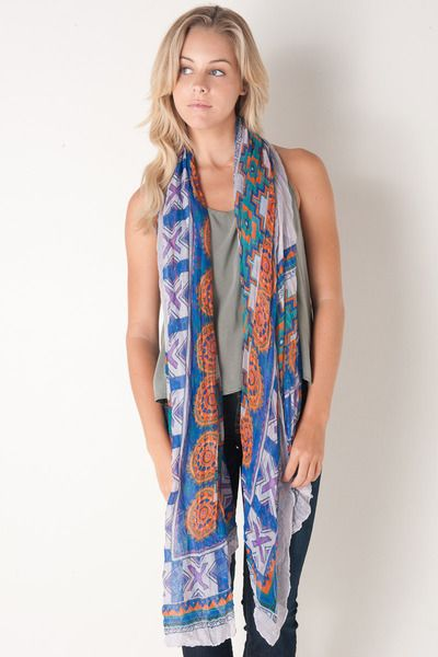Indian Summer Scarf in Blue by Spun By Subtle Luxury for $51.00