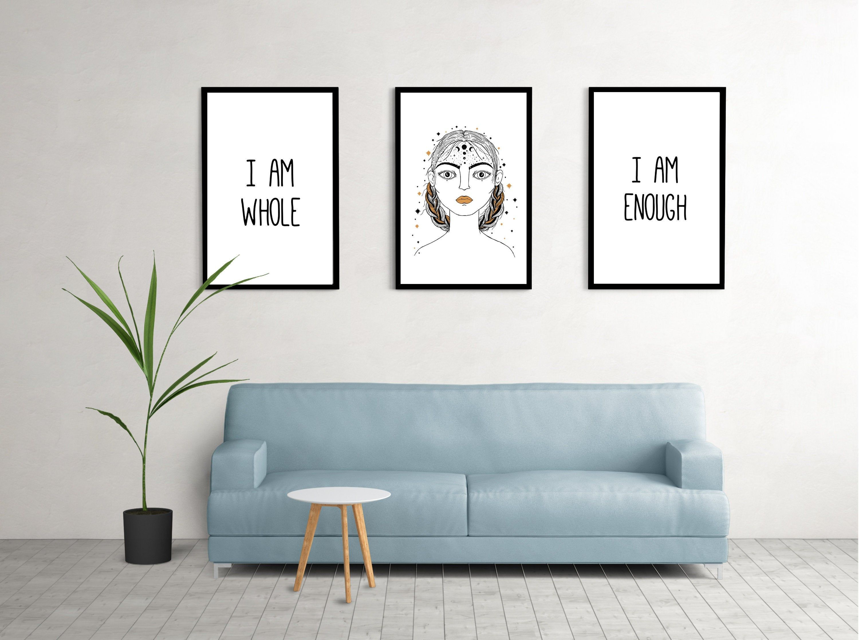 Set Of 3 Affirmation Wall Art Prints Digital Download I Am Enough I Am Whole Motivational Wall Ar Motivational Wall Art Wall Printables Home Decor Wall Art
