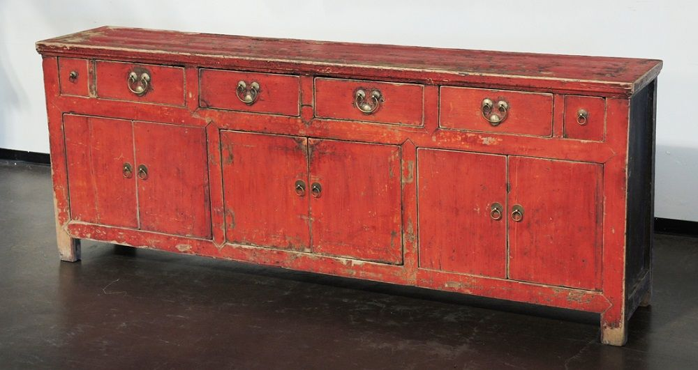 Antique Red Sideboard Buffet Cabinet With Original Paint Mc0029