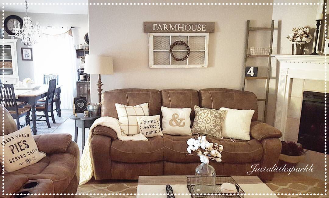 Living Room Rustic Family Room Farmhouse Ladder Brown Couch