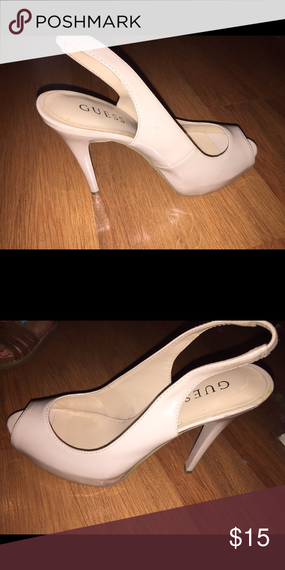 Cream guess shoes open toe. Cream Guess heels open from back n open toe. Used no more than 3 times. Great condition. No scratches. More pictures if needed. Will go down on price. GUESS Shoes Heels