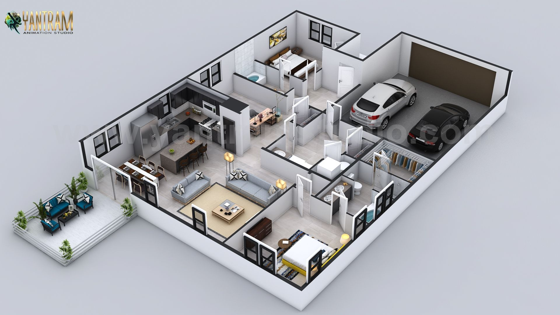 Modern 3d Floorplan Design For Residential House With Garageslot Doha Qatar Floor Plan Design Floor Plans Plan Design