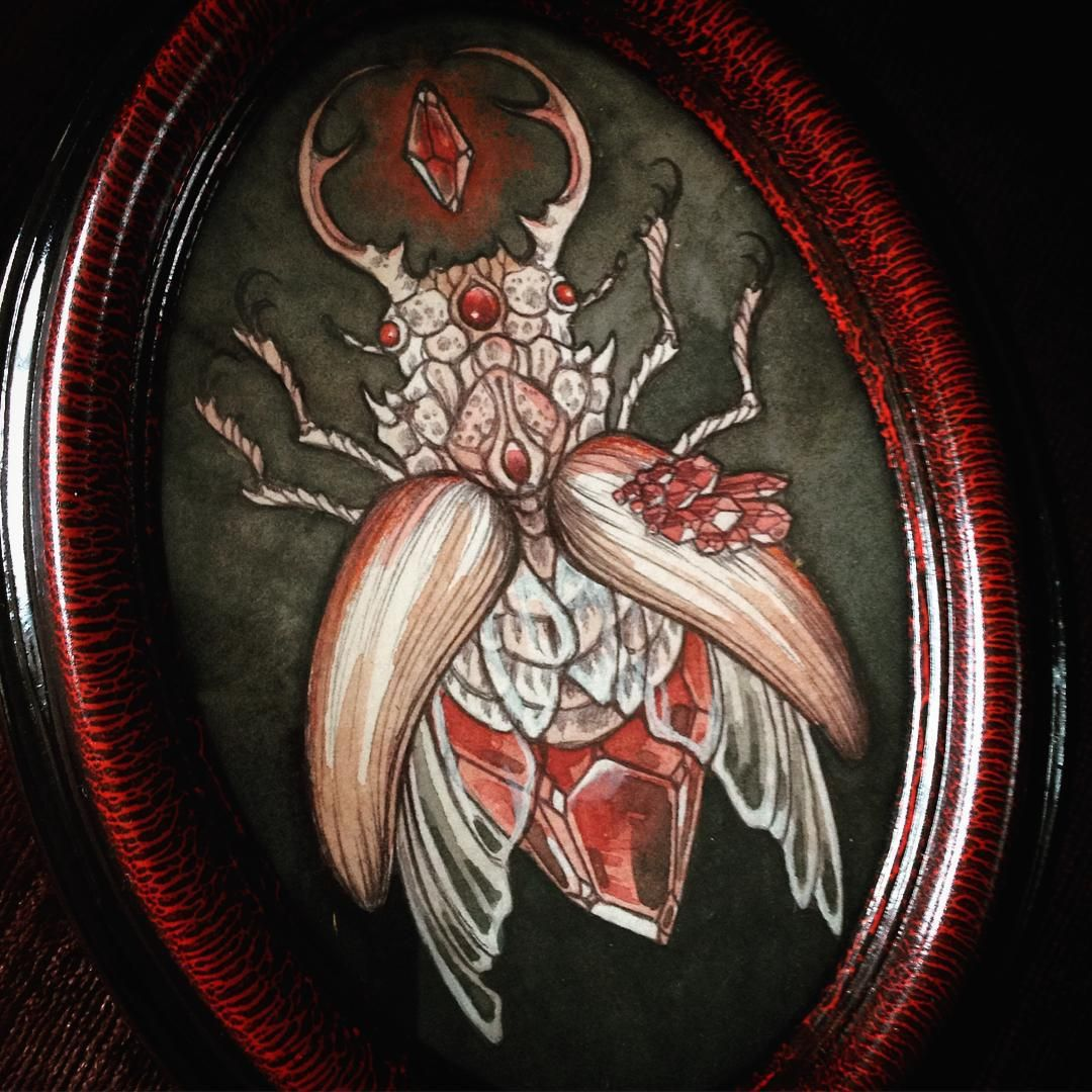 Tomorrow, Friday the 10th, at 12pm Pacific time I'll be adding this stag beetle along with several other small paintings to my shop at www.caitlinhackett.storenvy.com