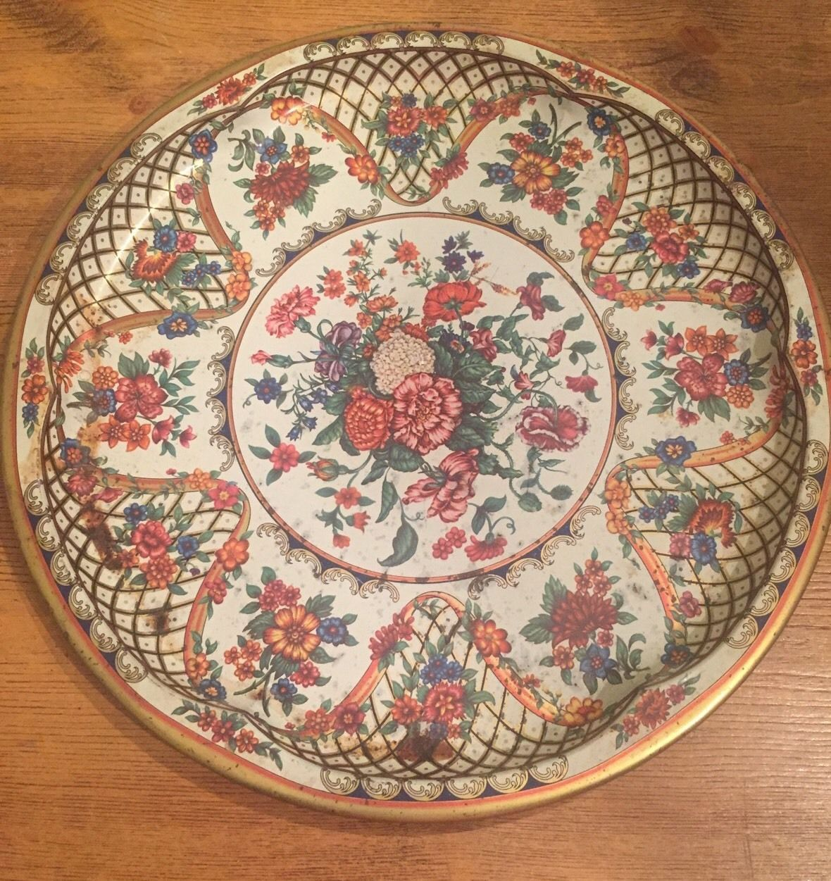 Daher Decorated Ware Tray Made In England Amusing Daher Decorated Ware Large Floral Metal Serving Tray Made In Design Inspiration