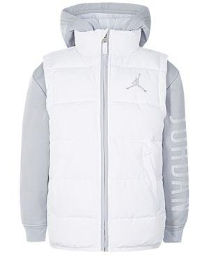 ac38af7d589860 Jordan Aj Hooded Layered-Look Puffer Vest Jacket