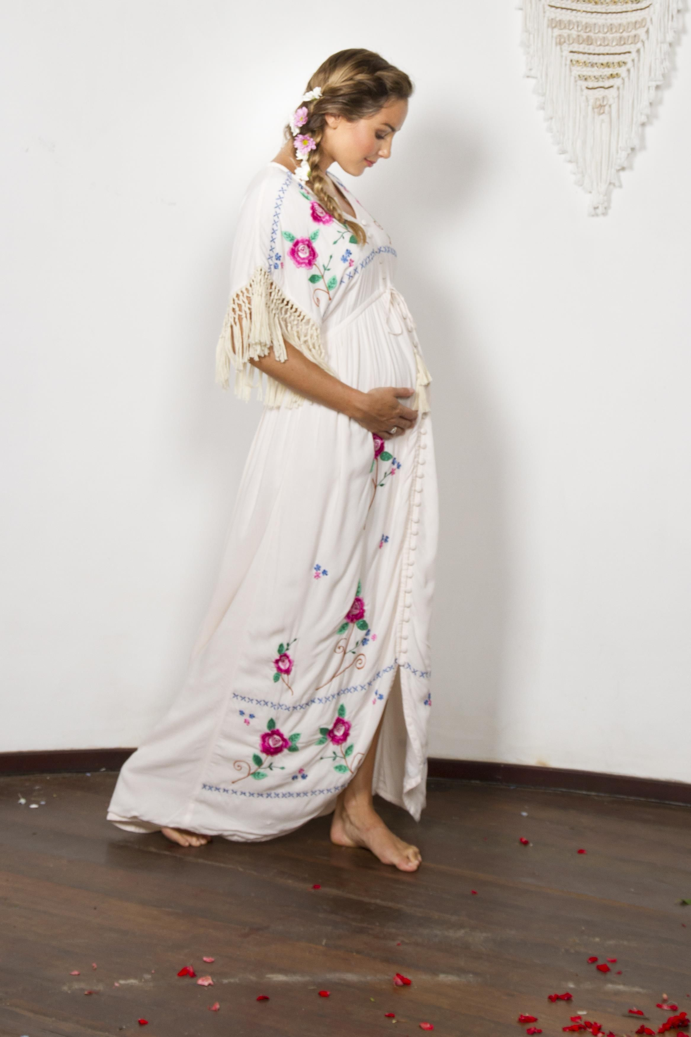 Bojangles button through maternity dustermaxi dresskaftan create your own story in this hand crafted bohemian maternity dress with stunning floral embroidery and macrame tassel sleeve detail ombrellifo Gallery