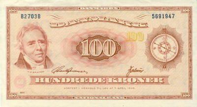 Oersted 100 Danish Kroner Bank Notes Currency Design Denmark Currency