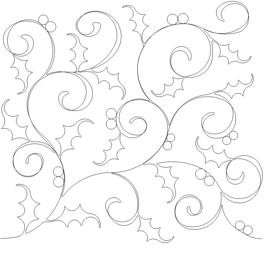 Quilting Creations Holly Background Quilt Stencil 8