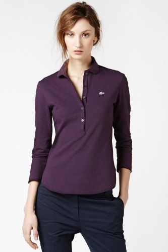 e59d342ed2681 Lacoste Long Sleeve Stretch Rounded Hem Polo   Just Added