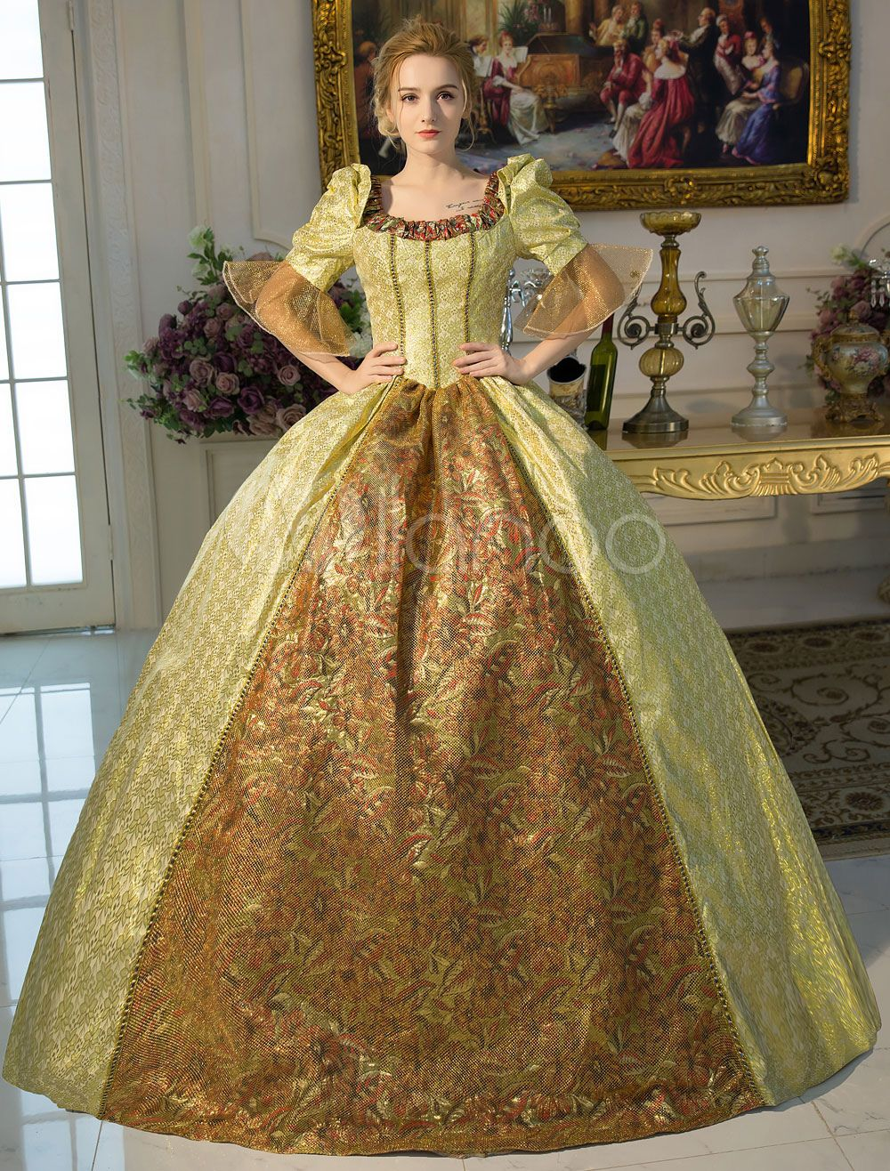 Gold Retro Costume Baroque Squared Neckline Tunic Ball Gown Dress Halloween Victorian Dress Costume Vintage Long Dress Ball Gowns [ 1316 x 1000 Pixel ]
