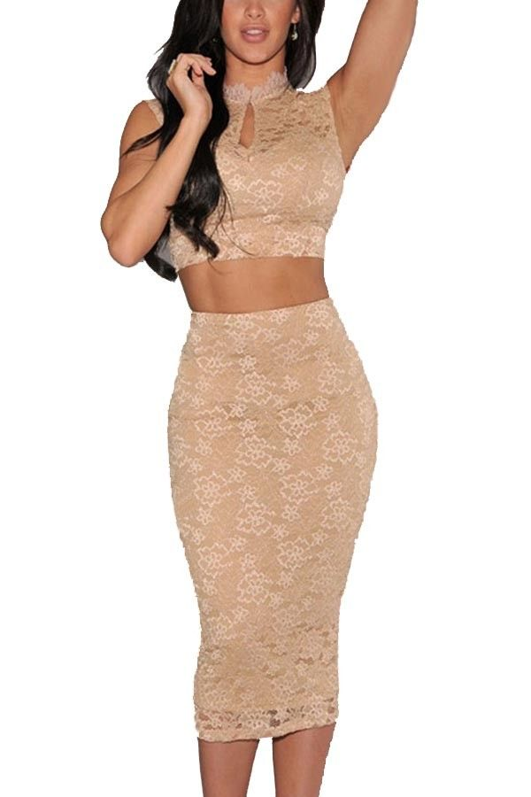 Apricot Lace Crop Top Pencil Skirt 2 Piece Dress Outfit With