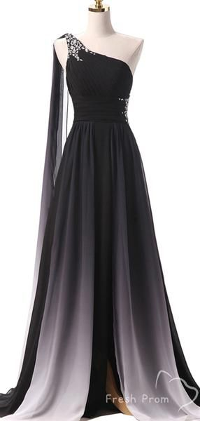 A-Line One Shoulder Ombre Chiffon Long Prom Dresses With Beading,FPPD403 #modestprom