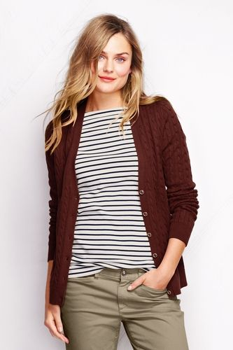 Women's Cotton Cable V-neck Cardigan Sweater from Lands' End on ...