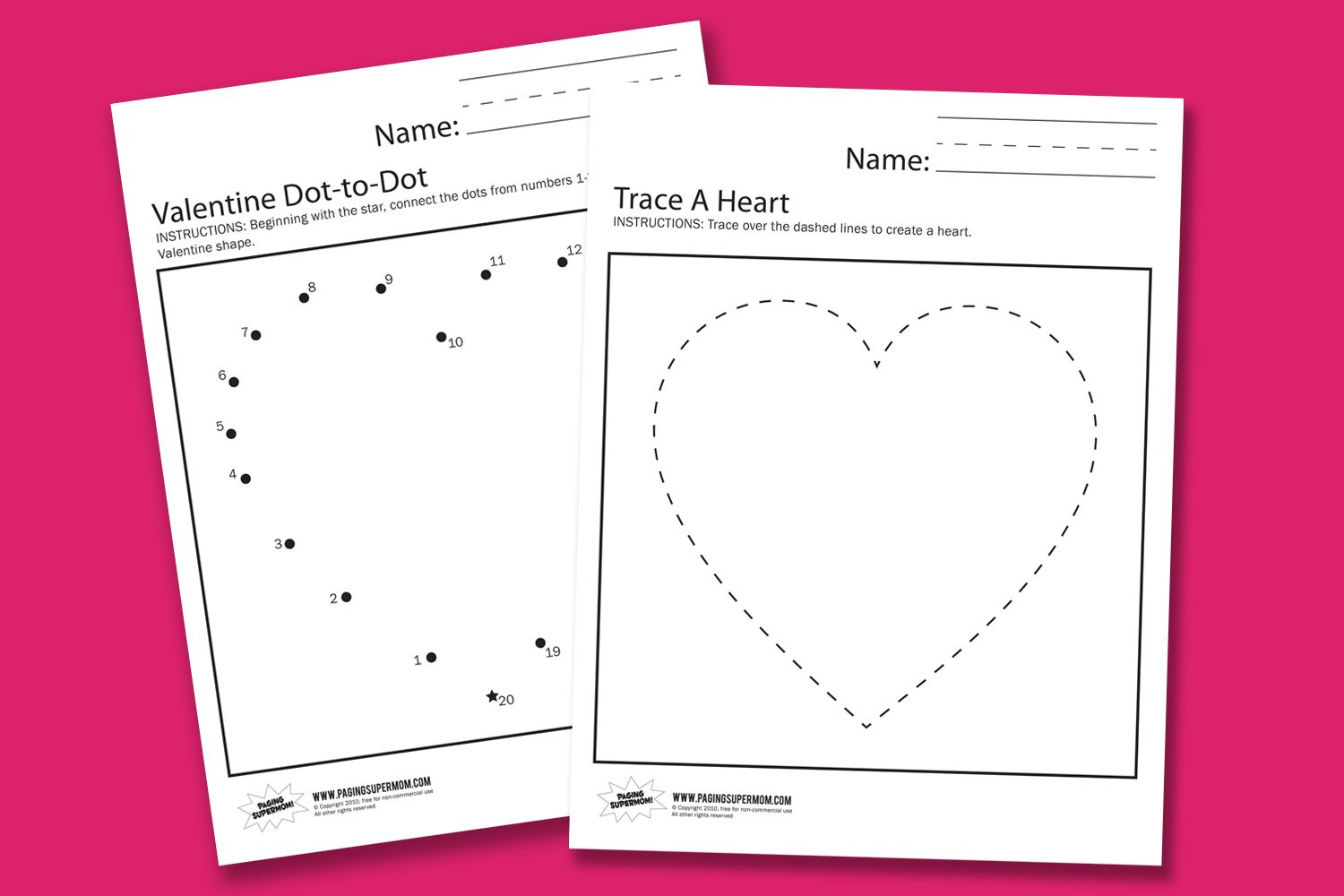 Free printable valentines day worksheets worksheets for our youngest superkids and a valentine s day dot to dot