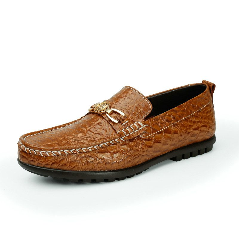 Men's Classic Casual Breathable Soft Leather Driving Loafer Coffee 44