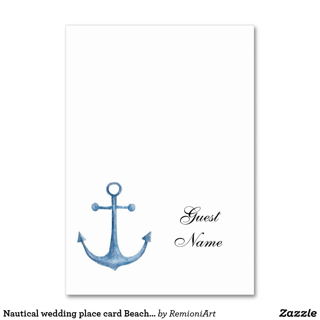 Nautical Wedding Place Card Beach Table Name Blue Wedding Places