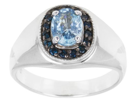 1.58ct Oval Blue Zircon With .17ctw Round Blue Diamond Sterling Silver