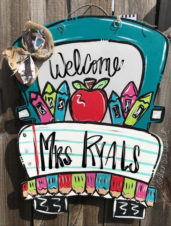 Back to school truck classroom teacher door hanger - truck door hanger - classroom soor hanger - cla