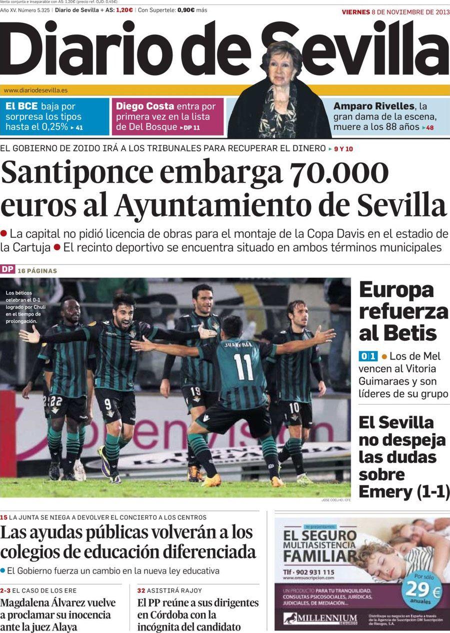 Los Titulares y Portadas de Noticias Destacadas Españolas del 8 de Noviembre de 2013 del Diario De Sevilla ¿Que le pareció esta Portada de este Diario Español?