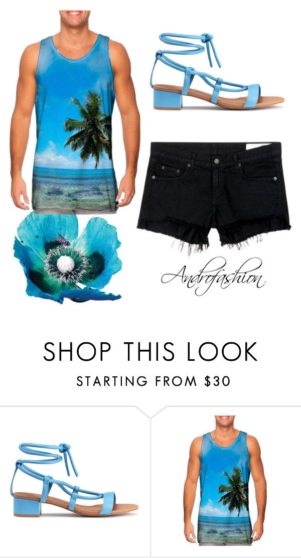 """Men androgynous casual beach sky blue outfit"" by androfashion ❤ liked on Polyvore featuring rag & bone/JEAN, men's fashion, menswear, Heels, beach, androgynous, malefashion and meninheels"