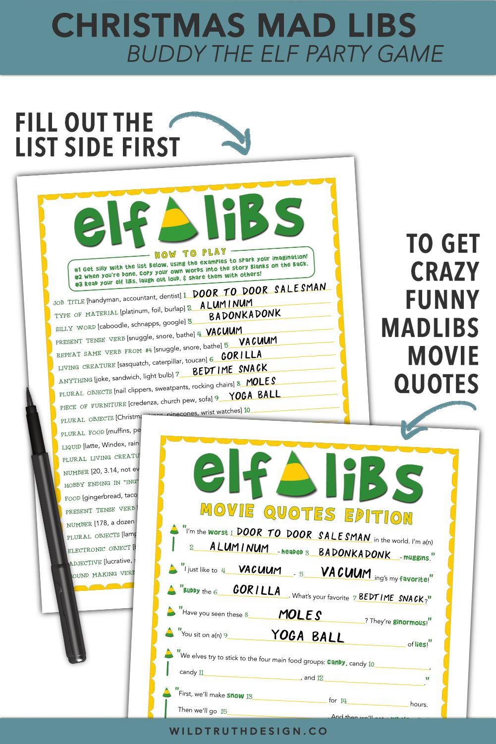 Buddy The Elf Mad Libs - Christmas Movie Party Game