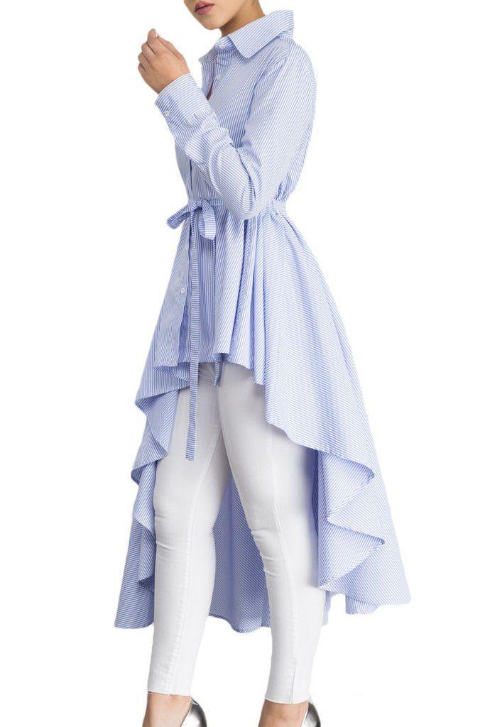 4998545c Light Blue Striped Lapel Shirt High Low Belted Blouse Top | Long ...