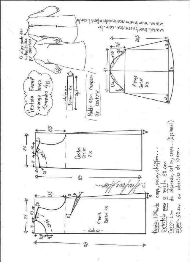 Vestido de manga larga Bishop | Patrones de ropa | Pinterest ...
