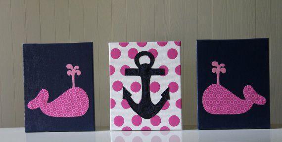Baby Nautical Decor Nursery Wall Art Whale Anchor Navy Blue Pink Polka Dots Acrylic Painting