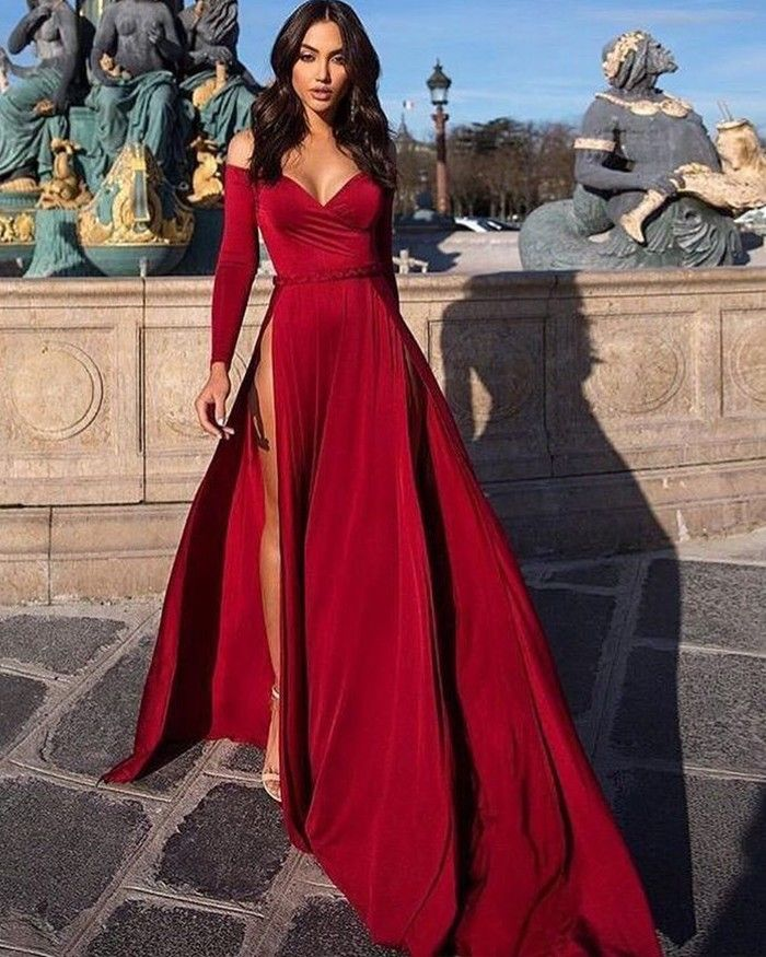 Off The Shoulder Satin Burgundy Long Sleeved Evening Dress With High Slit,771 2