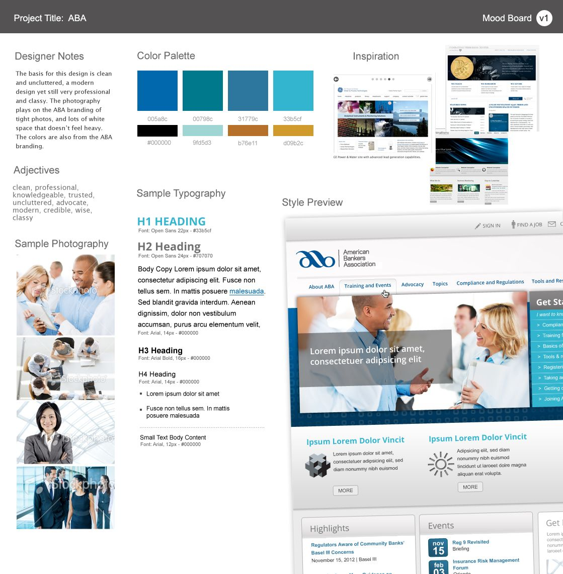 Cool colors web design - Aba Moodboard 1 Moodboard Coolcolors Bank Webdesign Clean Uncluttered