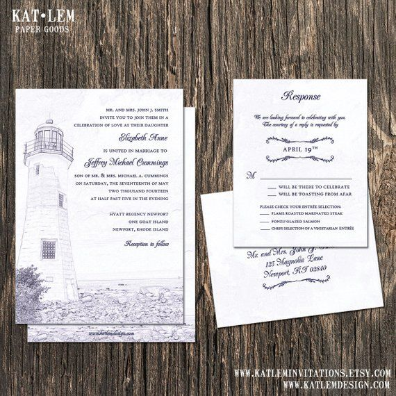 Lighthouse Wedding Invitation Lighthouse Sketch Products