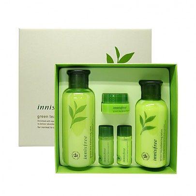 Innisfree Greentea Balancing Skin Care Set For Normal To Combination Skin 1set 5pcs Skin 200ml Lotion 160ml