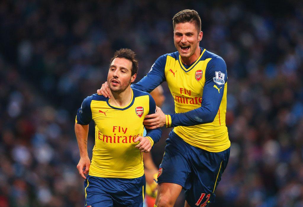 Our goal scorers, Santi cazorla and Olivier Giroud. Manchester City 0-2 Arsenal (January 2015)