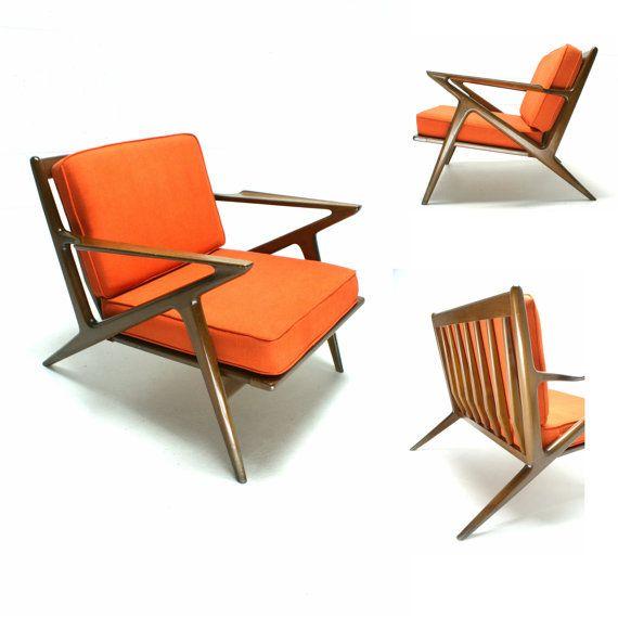 The 60s Mid Century Modern Danish Selig Poul Jensen Z Chair Lounge Chair  Orange. Fantastic