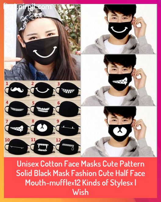 Unisex Cotton Face Masks Cute Pattern Solid Black Mask Fashion Cute Half Face Mouth-muffle(12 Kinds of Styles) | Wish #Black #cotton #Cute #Face #face mask #Fashion #Kinds #Mask #Masks #Mouthmuffle12 #Pattern #Solid #Styles #Unisex