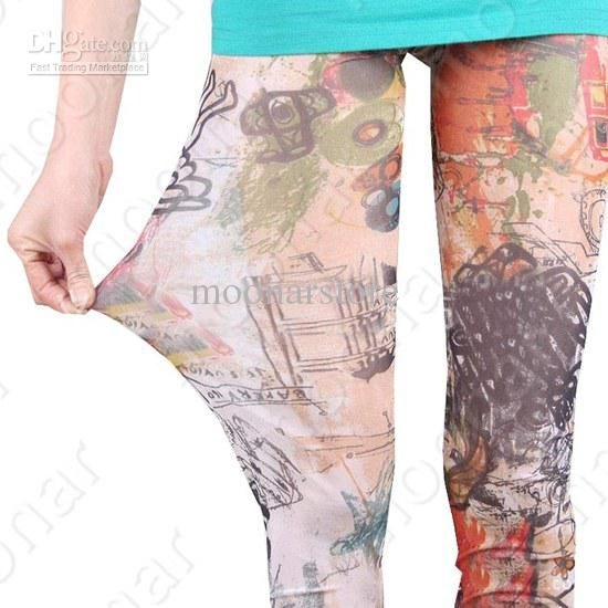 Women Sexy Floral Pattern Tights Footless Skinny Long Slim Fit Leggings NY021