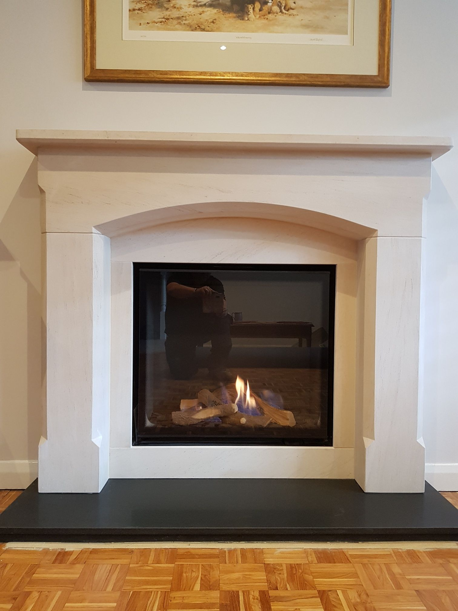 54 Bellingham Portugese Limestone Surround And Slips With A Dru Global 70xt Gas Fire And Honed Granite Hearth Wood Burning Stove Pantry Design Granite Hearth