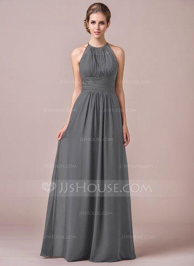99ee8f42a121 A-Line/Princess Halter Floor-Length Ruffle Lace Zipper Up Spaghetti Straps  Sleeveless No Grape Spring Summer Fall General Plus Chiffon Bridesmaid Dress