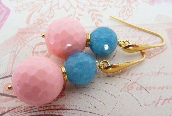 Pink C Earrings Uk Stone Light Blue By Sofiasbijoux