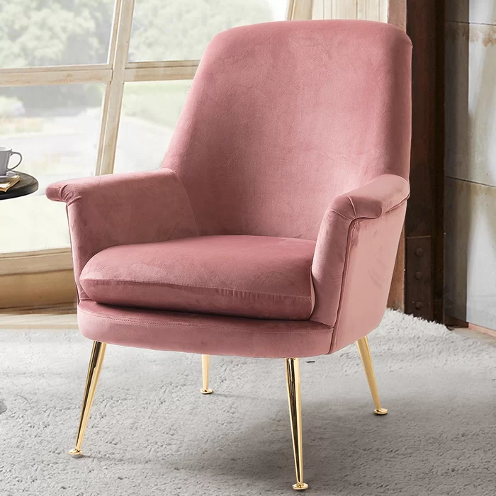 Katelyn Armchair In 2020 Armchair Pink Velvet Chair Pink Accent Chair