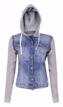 b74c1e0f33 jaqueta jeans moletom casaco capuz agasalho feminina Mais