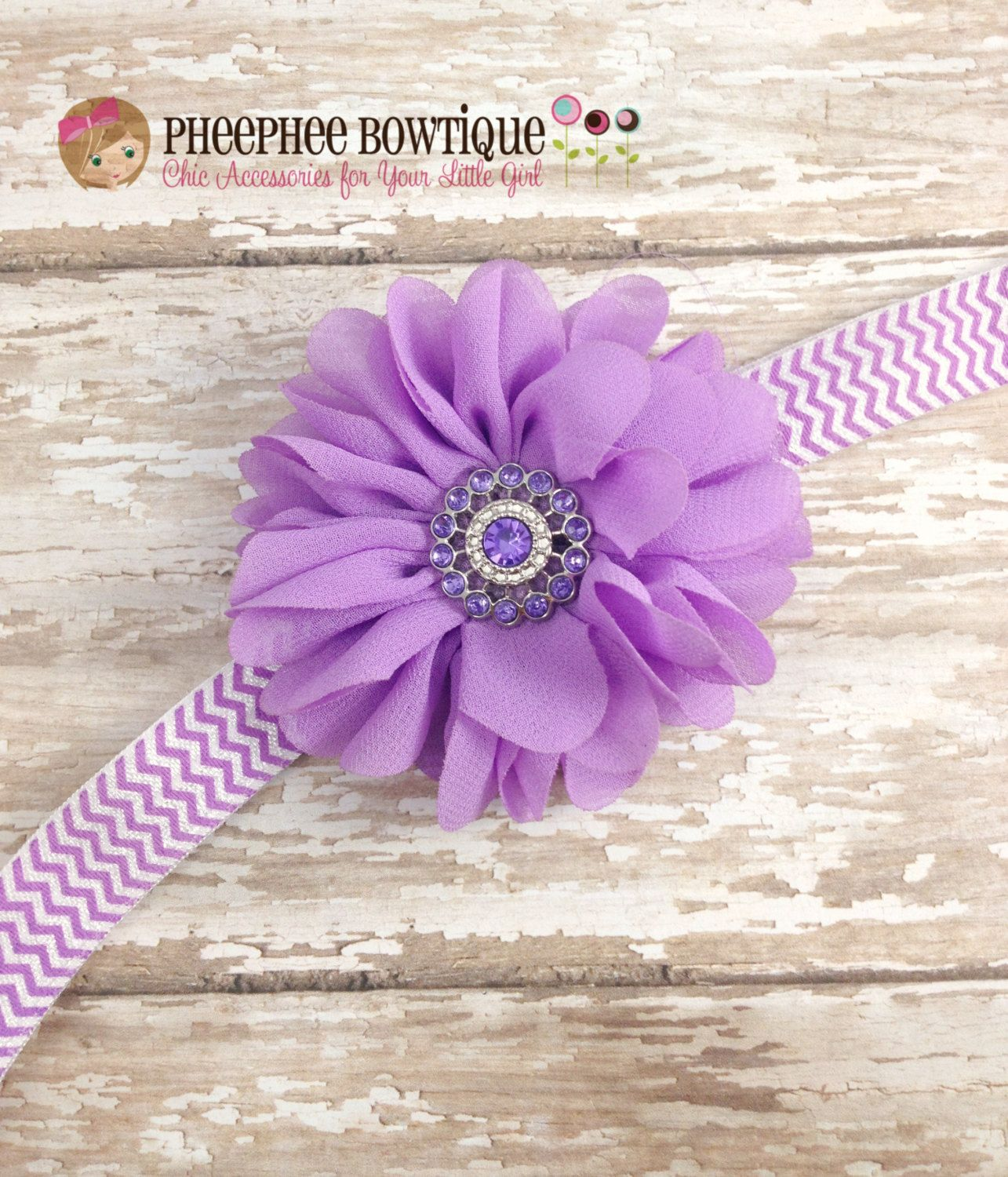 Lavender Flower Headband, Chevron, Scallop, Baby Headband, Infant Headband, Newborn Headband, Photo Props, Baby & Toddler, Flower Girl - pinned by pin4etsy.com