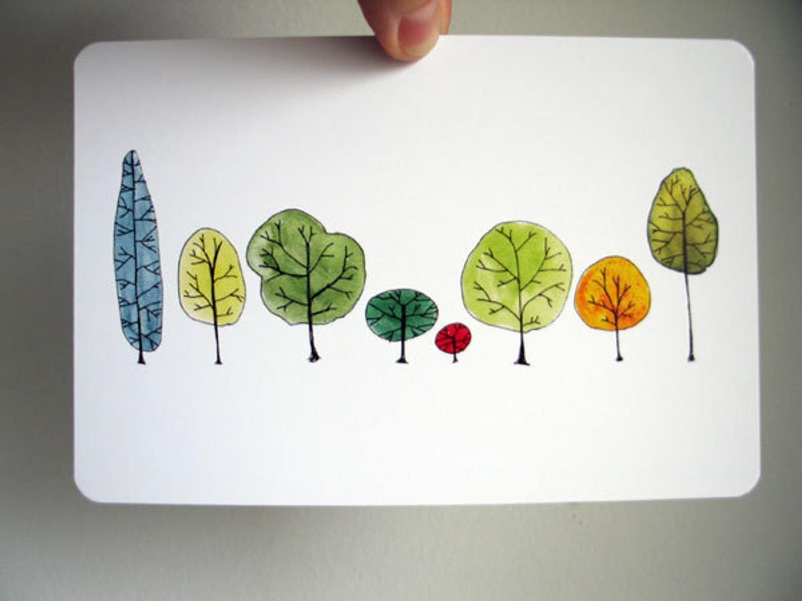 Reihe Bäume Kunst Postkarte original Aquarell | Etsy