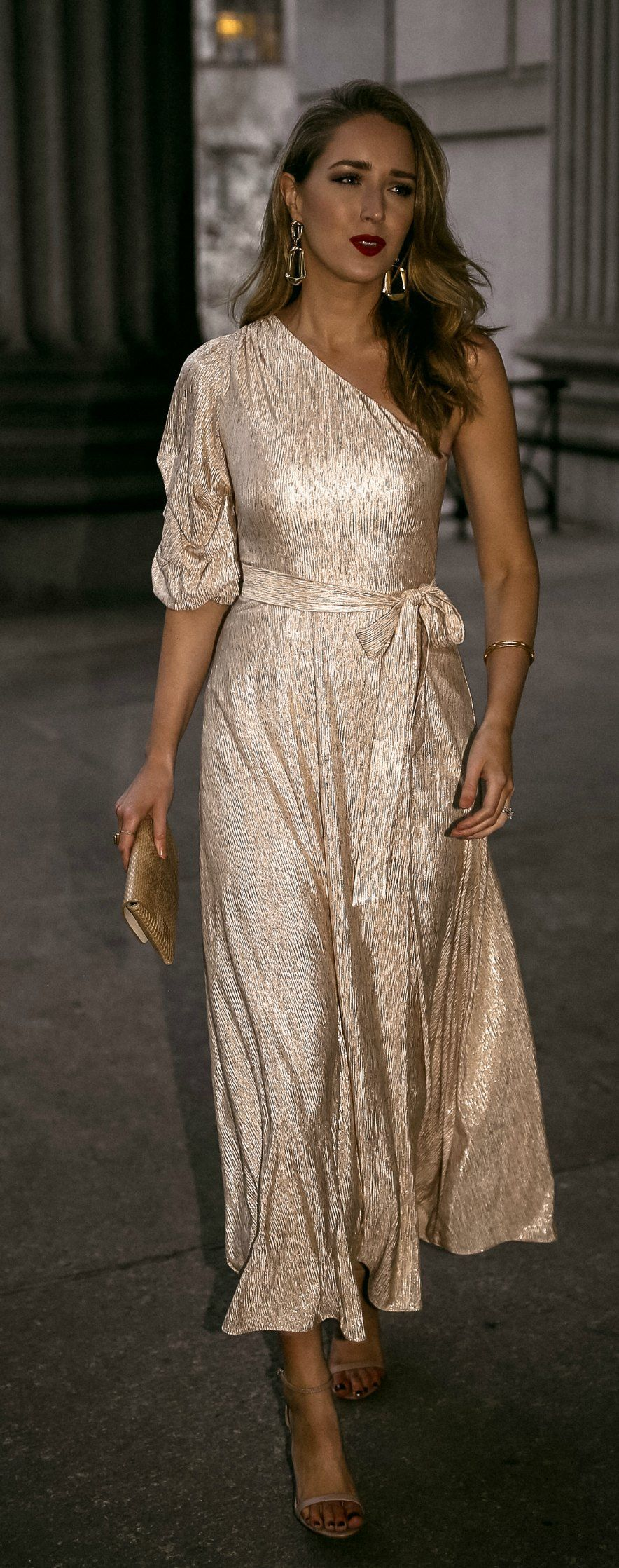 What to wear to the theater gold metallic one shoulder midi dress