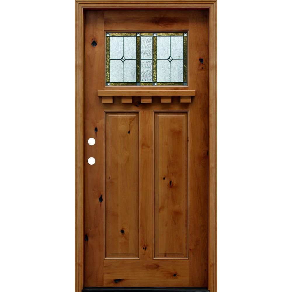 Pacific Entries 36 In X 80 In Craftsman Rustic 1 4 Lite Stained Knotty Alder Wood Prehung Front Door With Dentil Shelf A21hsl The Home Depot Wooden Front Doors Craftsman Front Doors Wood Front Doors