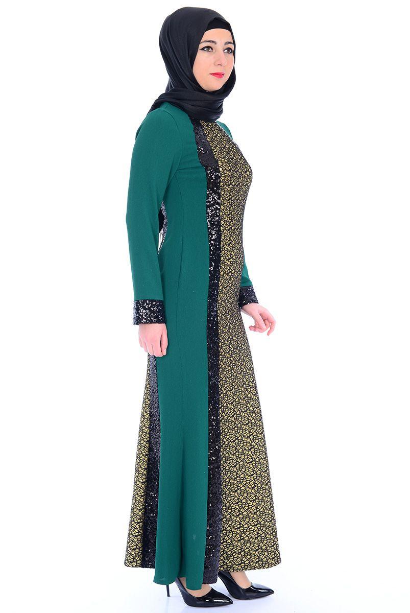 d0145b08da741 Balık Kesim Yeşil Tesettür Abiye - 2364-01 Tesettür Elbise - Tesettür Elbise  Modelleri ve