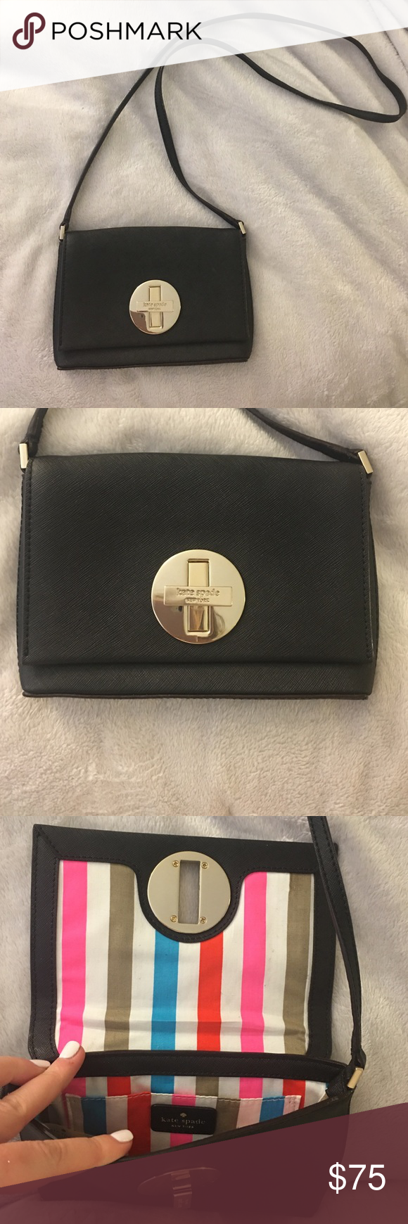 Kate Spade Black Crossbody Like new Kate Spade black Crossbody. Opens with latch on front, perfect for going out. Make an offer kate spade Bags Crossbody Bags